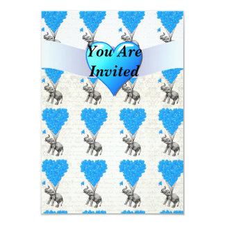 Fun cute elephants & blue heart balloons 3.5x5 paper invitation card
