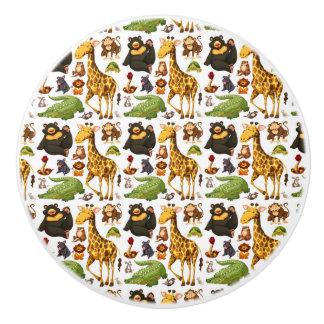Fun Cute Jungle Animals Ceramic Knob