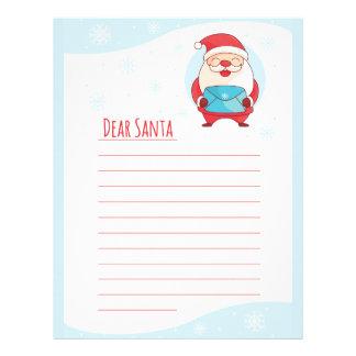 Fun Cute Letter to Dear Santa Claus lined template Letterhead Template