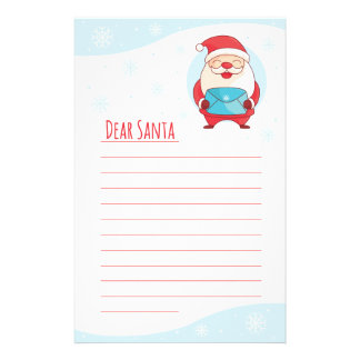 Fun Cute Letter to Dear Santa Claus lined template Stationery Design