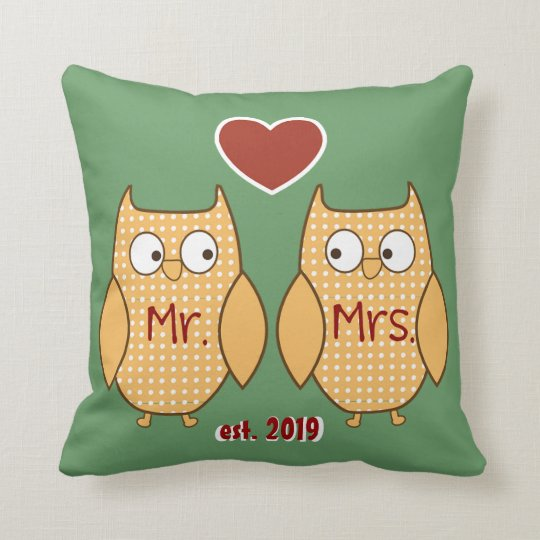Fun Cute Mr. & Mrs. Owl Personalized Throw Pillow