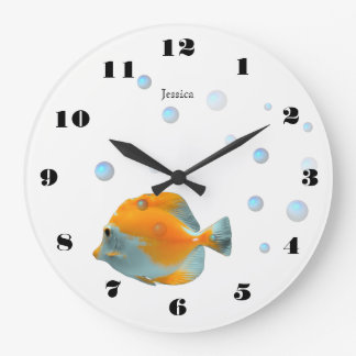 Fun Cute Yellow Coral Fish Children Nursery Large Clock