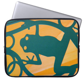 Fun Cutout Frog, Green on Yellow Background Laptop Sleeve