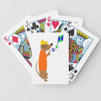 Fun Dachshund Dog Flying a Kite Bicycle Playing Cards