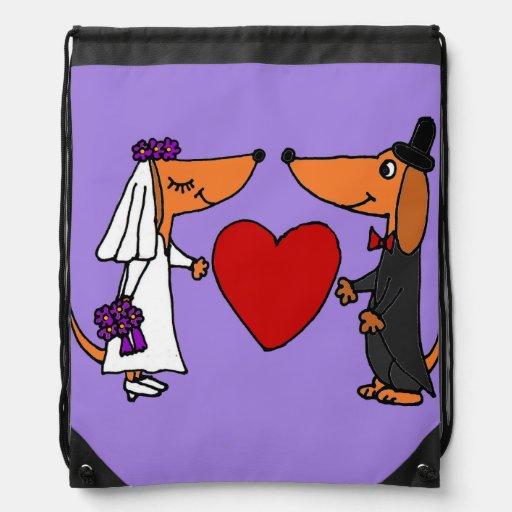 Fun Dachshund Dogs Bride and Groom Wedding Art Cinch Bag