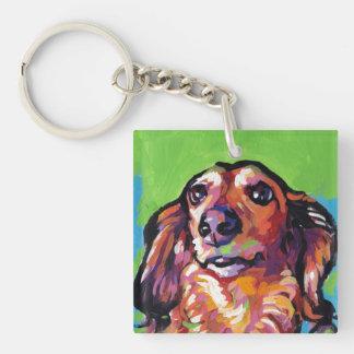 Fun DACHSHUND doxie dog bright colorful Pop Art Keychain