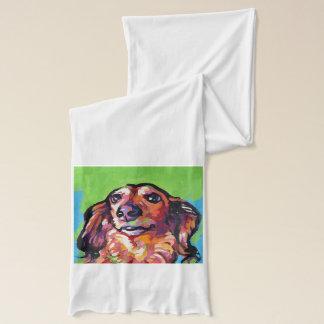 Fun DACHSHUND doxie dog bright colorful Pop Art Scarf