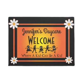 Fun Daisies & Kids Personalized Daycare Welcome Doormat
