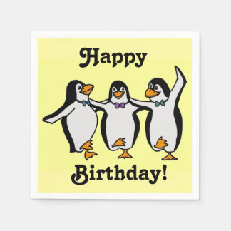 Fun Dancing Penguins Happy Birthday! Disposable Napkins