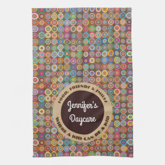 Fun & Decorative Circles Personalized Daycare Kitchen Towel