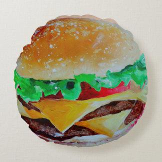 Fun decorative pillow, Hamburger pop art Round Pillow