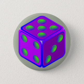 Fun dice theme button. 2 inch round button