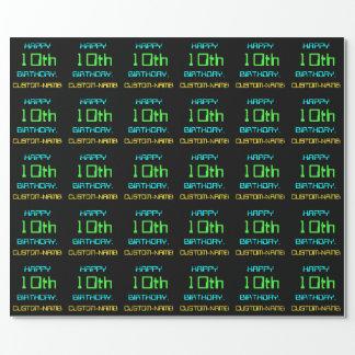 Fun Digital Computing Themed 10th Birthday Wrapping Paper