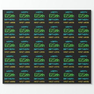 Fun Digital Computing Themed 65th Birthday Wrapping Paper