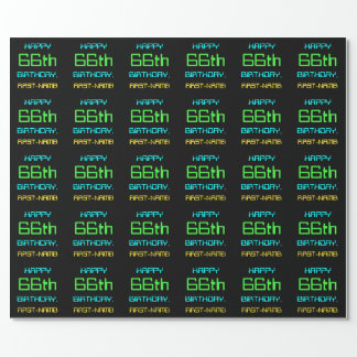 Fun Digital Computing Themed 66th Birthday Wrapping Paper