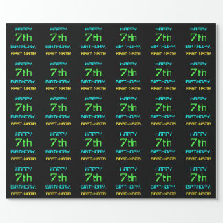 Fun Digital Computing Themed 7th Birthday Wrapping Paper