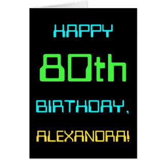 Fun Digital Computing Themed 80th Birthday Card