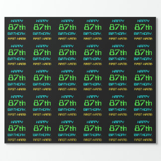Fun Digital Computing Themed 87th Birthday Wrapping Paper