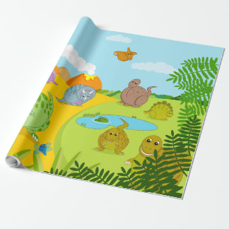 Fun dino prehistoric Jurassic dinosaur landscape, Wrapping Paper