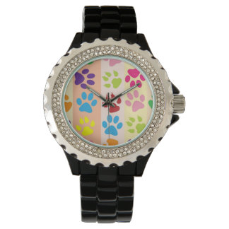 Fun Dog Paw print pattern accessories Dog walker Wrist Watches