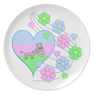 Fun Donkey Heart Plate
