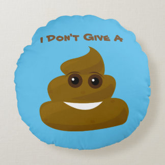 Fun Don't Give A Poop Emoji Round Pillow