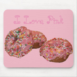 "Fun Donut Mousepad ""I Love Pink"""