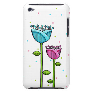 Fun Doodle Flowers blue pink dots iPod Touch Case