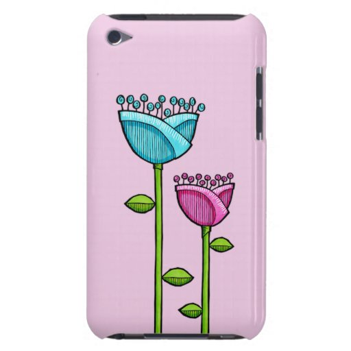 Fun Doodle Flowers pink blue iPod Touch Case