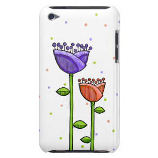 Fun Doodle Flowers purple orange dots iPod Touch iPod Touch Case-Mate Case
