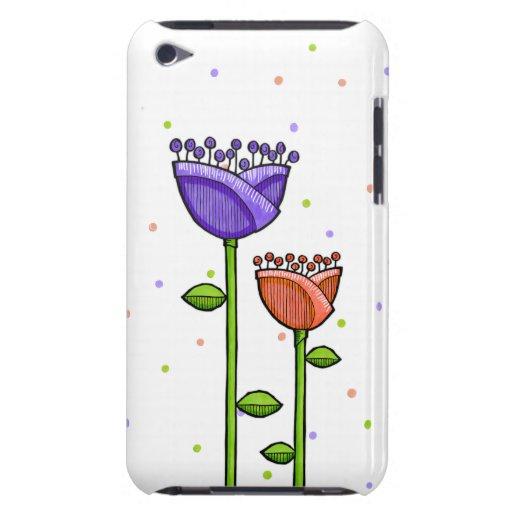 Fun Doodle Flowers purple orange dots iPod Touch Case-Mate iPod Touch Case
