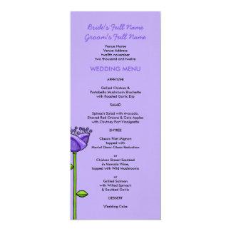 Fun Doodle Flowers purple orange Wedding Menu Card