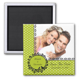 Fun Dots Love Birds Photo Save The Date Magnet