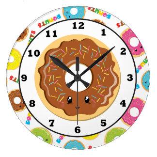 Fun doughnut shop pattern wall clock