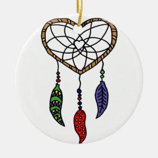 Fun Dream Catcher Art Round Ceramic Ornament
