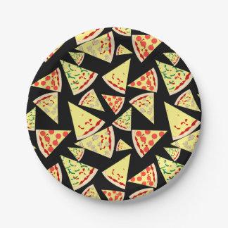 Fun Dynamic Random Pattern Pizza Party 7 Inch Paper Plate