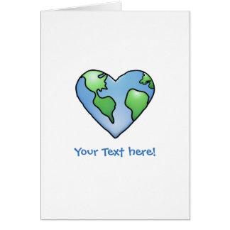 Fun Earth Heart Shaded Cartoon Style Icon Card