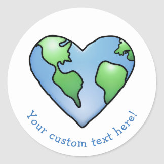 Fun Earth Heart Shaded Cartoon Style Icon Classic Round Sticker