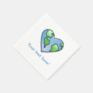 Fun Earth Heart Shaded Cartoon Style Icon Disposable Napkin