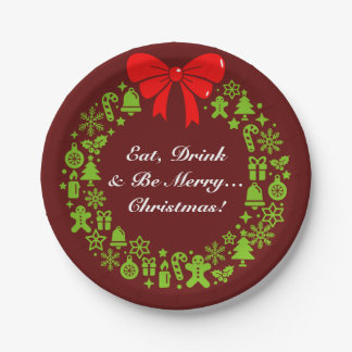 """Fun """"Eat, Drink and be Merry"""", Christmas Wreath, Paper Plate"""
