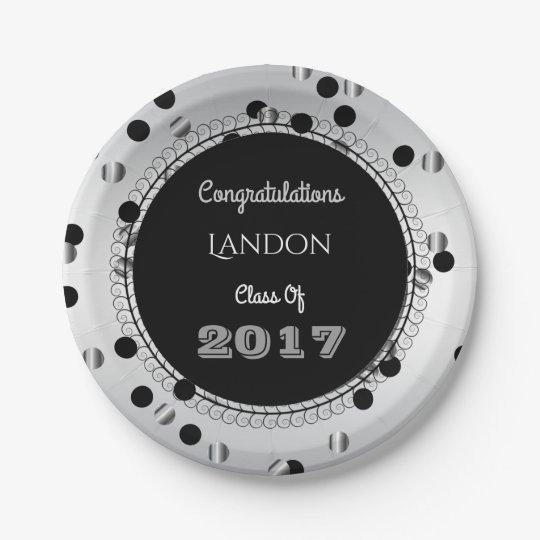 Fun & Elegant Silver & Black Graduation 7 Inch Paper Plate