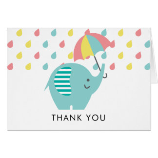 Fun Elephant Baby Shower Thank You Note Card