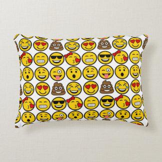 Fun Emoji Pattern Emotion Faces Accent Pillow