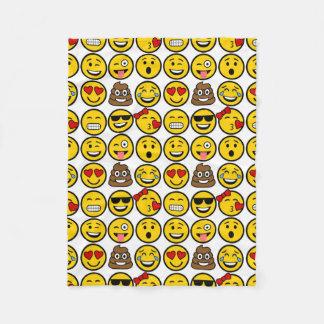 Fun Emoji Pattern Emotion Faces Fleece Blanket