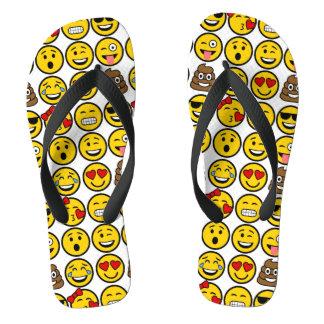 Fun Emoji Pattern Emotion Faces Flip Flops