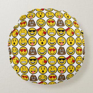 Fun Emoji Pattern Emotion Faces Round Pillow