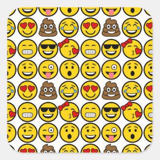 Fun Emoji Pattern Emotion Faces Square Sticker