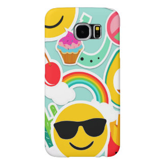 Fun Emoji Sticker Pattern Samsung Galaxy S6 Cases