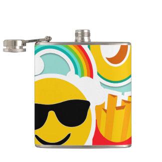 Fun Emoji Sticker Pattwern Hip Flask