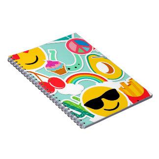 Fun Emoji Sticker Pattwern Notebook